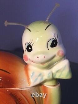 VTG Enesco Snappy The Snail Anthropomorphic SALT & PEPPER Shakers CREAMER Sugar