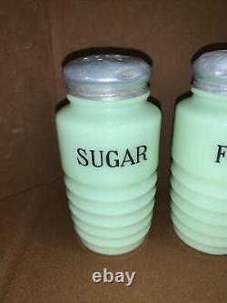 VTG Jeanette Glass Jadeite Salt, Pepper, Sugar, Flour Beehive Range Shakers Set