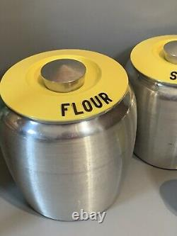 VTG Kromex Spun Aluminum YELLOW Lids Canisters Salt Pepper Set of 6 Beautiful