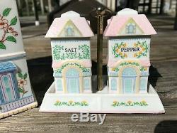 VTG LENOX Village Canisters Fine Porcelain Cookies Flour Coffee Tea Salt Pepper