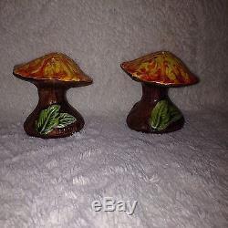 VTG Mushroom Ceramic Salt Pepper Shakers Trippy Psychedelic Magic Merry 60s 70s