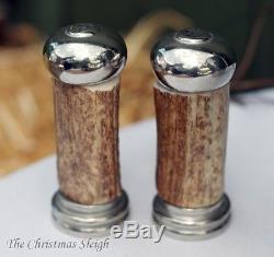 Vagabond House Rustic Natural Antler Pewter Salt and Pepper Shaker Set