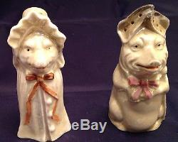 Very Old Salt And Pepper Shakers Porcelain Wolf And Wolf As Grandma Red Riding