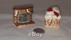 Very Rare ARCADIA Santa in Chimney and Christmas Fireplace Salt Pepper Shakers