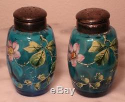 Victorian Antique Blue Art Glass Enamel Floral Salt and Pepper Set