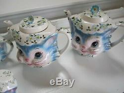 Vintage 10pc Lefton Miss Priss Kitty Cat Cookie Tea Pots r Salt Pepper & more