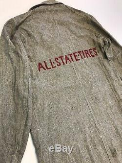 Vintage 1930 Keystone Coat Coverall Salt & Pepper All State Tires Garage Work 38