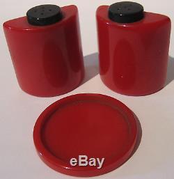 Vintage 1930's Art Deco Red & Black Bakelite Salt & Pepper Shakers With Stand