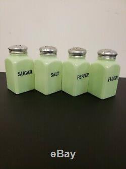 Vintage 1930's McKee Jadite Range Shaker Jadeite Salt, Pepper, Sugar, Flour