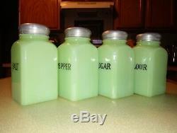 Vintage 1930's McKee Uranium Jadite Range Shaker Jadeite Salt Pepper Sugar Flour