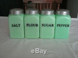 Vintage 1930's Mckee Jadite Salt Pepper Flour Sugar Range Shakers V. G. C