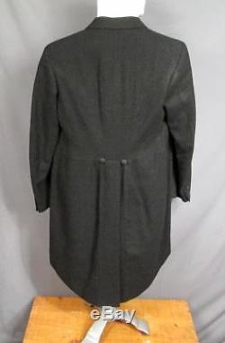 Vintage 1930s Black Salt&Pepper Wool Tuxedo Formal Suit Jacket 2 Vests Pants +