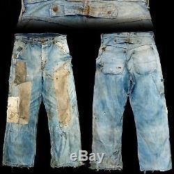 Vintage 1930s Salt & Pepper Patched Denim Buckle Back Crotch Rivet Jeans 30x28