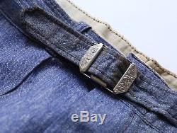 Vintage 1940s Boys Work Pants BLUE Salt & Pepper Chambray NOS workwear
