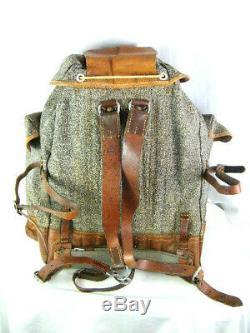Vintage 1943 Swiss Army Backpack Rucksack K31 Salt & Pepper Canvas & Leather