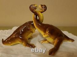 Vintage 1950s Iguanodon Ceramic Long Neck Dinosaur Salt and Pepper Shaker Set