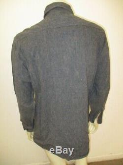Vintage 1950s Penney's BIG MAC Sanforized Salt Pepper Shirt Gussets Size L/XL