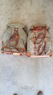 Vintage 1957 Swiss Army Backpack Rucksack Leather Canvas Salt & Pepper Metal