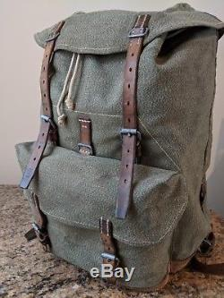 United States Army Vintage Canvas Rucksack Backpack Leather Straps