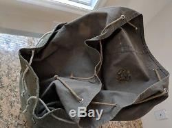 Vintage 1960 Swiss Army Military Backpack Rucksack Salt & Pepper Canvas Leather