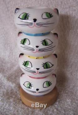 Vintage 50s HOLT HOWARD Stacked COZY KITTEN Salt Pepper SPICE SHAKERS Japan CATS