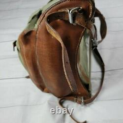Vintage 70's Swiss Army Military Backpack Rucksack Salt Pepper Canvas Leather