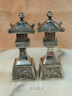Vintage 950 Sterling Silver Chinese Pagoda Foo Dog Temple Salt Pepper Shakers
