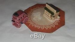 Vintage ARCADIA Miniature Stagecoach Saloon Salt & Pepper Shakers Packaging Dome