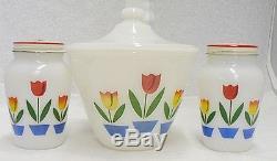 Vintage Anchor Hocking 4 Piece Range Set Salt And Pepper & Range Jar With LID