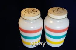 Vintage Anchor Hocking Fire King Glass Stripes Salt & Pepper Shakers