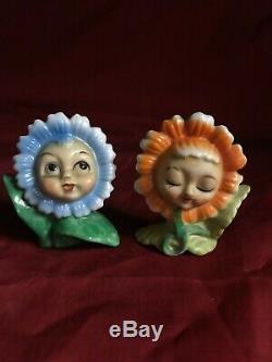 Vintage Anthropomorphic Flower Face Girl And Boy Porcelain Salt and Pepper Shake