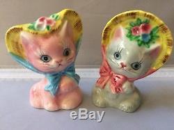 Vintage Anthropomorphic Japan Salt & Pepper Shakers Cat Kittens w Hats Pink