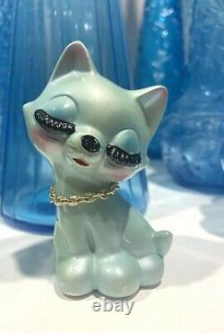 Vintage Anthropomorphic Kitsch Blue Eyelash Kitty Cat Salt Pepper Shakers