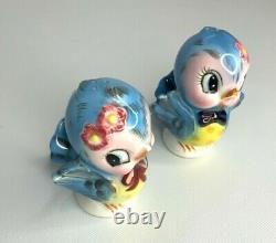 Vintage Anthropomorphic Lefton Blue Birds Porcelain Salt & Pepper Shakers