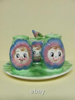 Vintage Anthropomorphic PY Cabbage Rose Salt & Pepper withPlate & Jam Pot (Japan)
