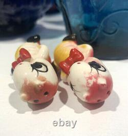 Vintage Anthropomorphic Red Bow Caterpillar Worm Salt And Pepper Shakers