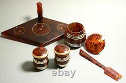 Vintage Antique Art Deco Marbled Veined Amber Bakelite Catalin Salt & Pepper Set