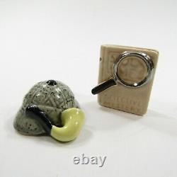 Vintage Arcadia Miniature Salt Pepper Shakers SHERLOCK Detective Book Hat Pipe