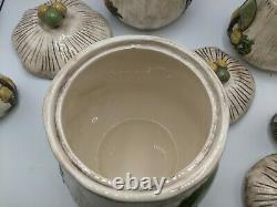 Vintage Arnel's Ceramic Mushroom Canister Set 3 Piece + Salt and Pepper Shakers