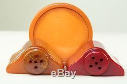 Vintage Bakelite Red Orange Salt & Pepper Shaker Set Rare Tray