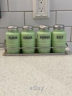 Vintage Beehive Jadeite Set Of 4 Sugar Flour Salt Pepper Cylinder + Rack