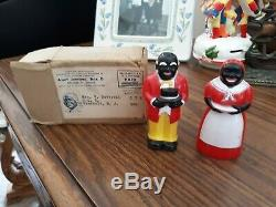 Vintage Black Americana Aunt Jemima And Uncle Moses Salt & Pepper Set. In Box