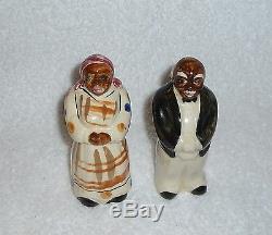 Vintage Black Americana Mammy Butler Aunt Jemima Polka Dot Salt Pepper Shakers