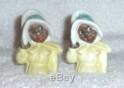 Vintage Black Americana Mammy Lady GERMANY Bonnet Salt and Pepper Shakers RARE