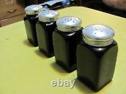 Vintage Black Ebony McKee Salt, Pepper, Flour & Sugar Shakers, Block Letters