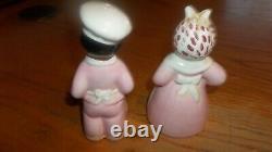 Vintage Black pink Americana Salt / Pepper Shakers 5.25 Tall Set