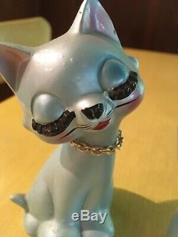 Vintage Blue Eyelash Cat Mod Japan Salt Pepper Shakers