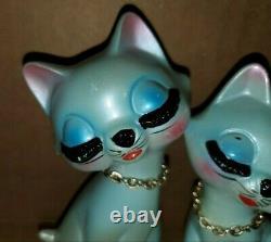 Vintage Blue Kitten Cat With Eyelashes Salt Pepper Shakers