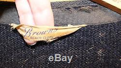 Vintage Brown's Beach Cloth Jacket Work Wear Salt & Pepper Authentic 1940's