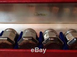 Vintage Cartier Sterling Silver Set Of 8 Individual Salt & Pepper Shakers With Box